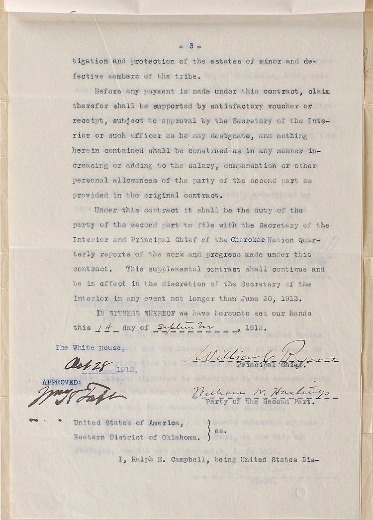 William H. Taft  Contract For Cherokee Nation