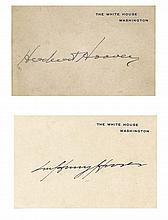Herbert and Lou Hoover Signed White House Cards