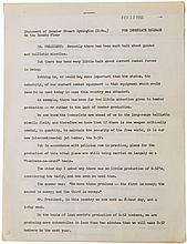 John F. Kennedy Statement with Original Notes