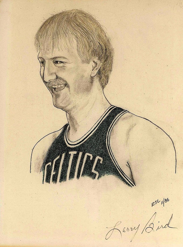 Larry Bird Signed Original Sketch