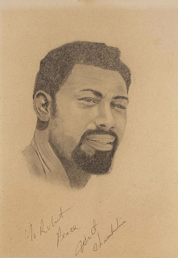 Original Signed Wilt Chamberlain Portrait Sketch