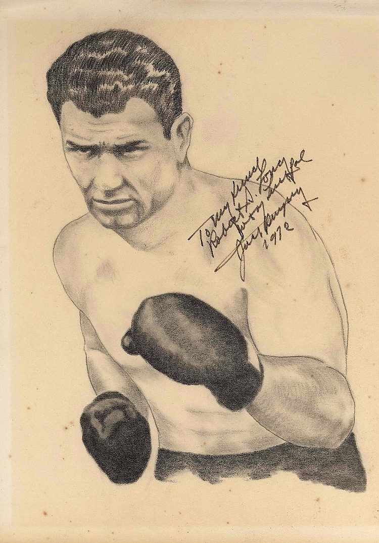 Jack Dempsey Signed Original Sketch