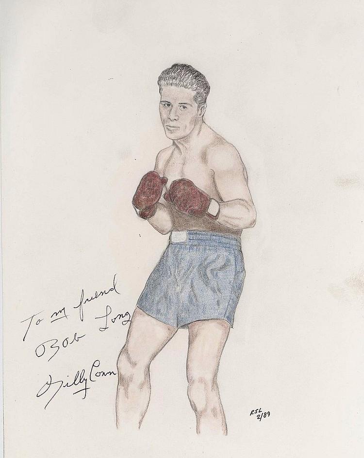 Billy Conn Signed Original Sketch