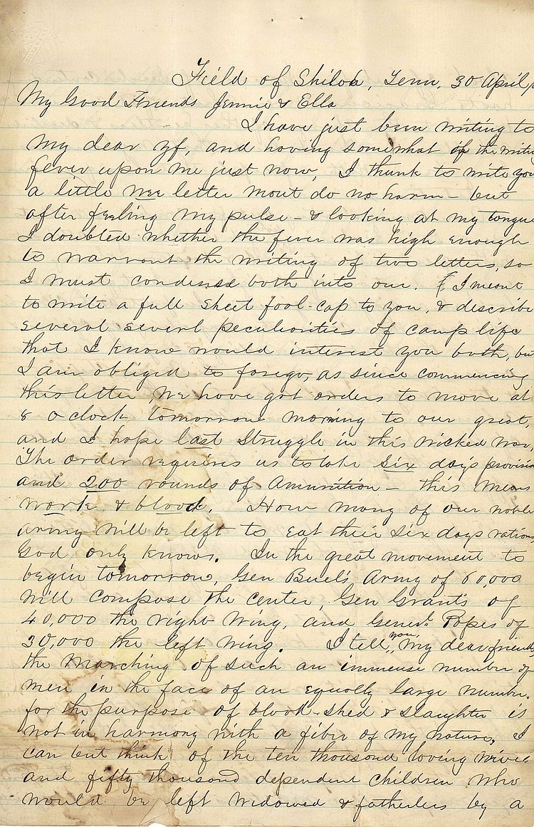 Mortimer D. Leggett Writes Important Letter from Shiloh