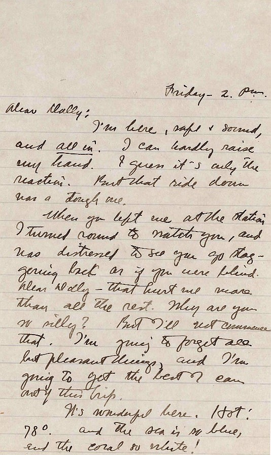 Zane Grey Letter to Wife