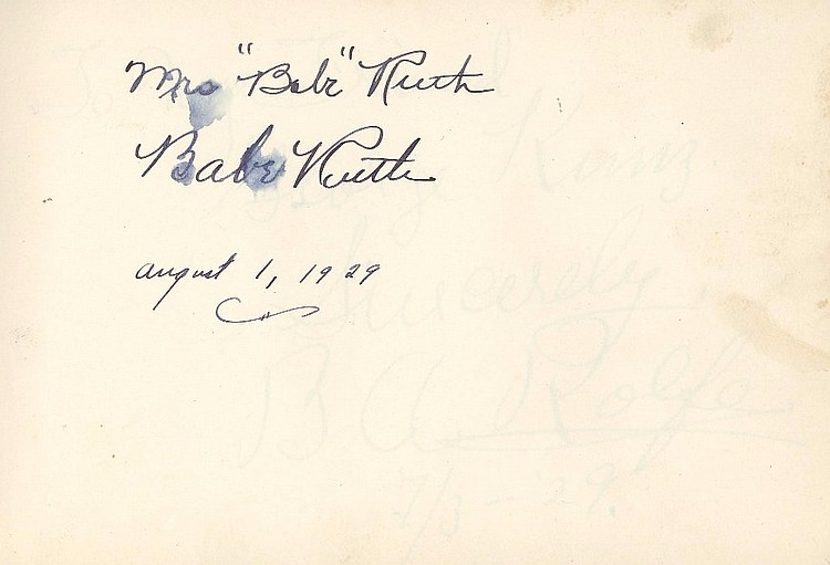 Babe Ruth Signed Album with Others Sports and Entertainment Stars of the 20's