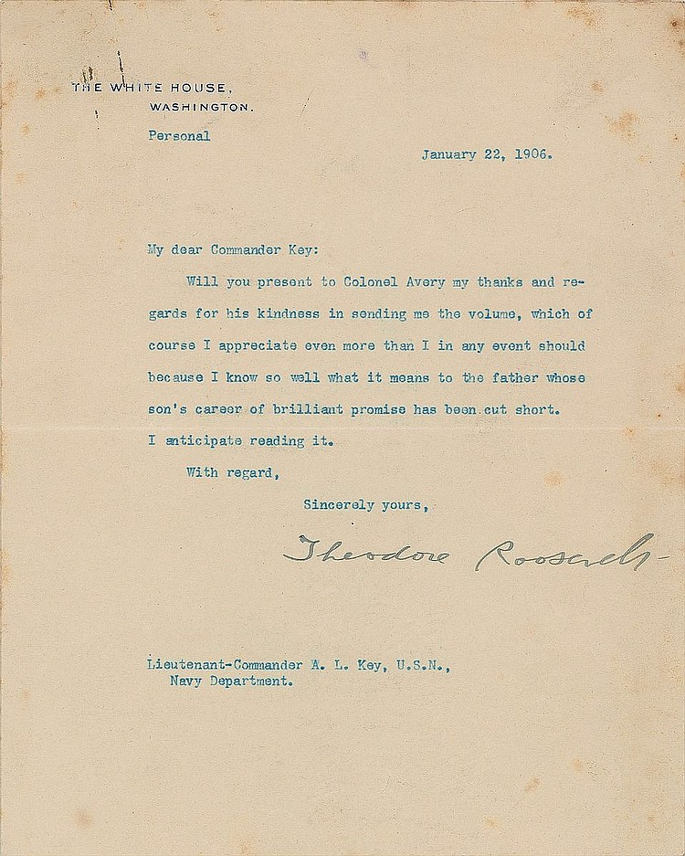 Theodore Roosevelt Moving Signed Letter