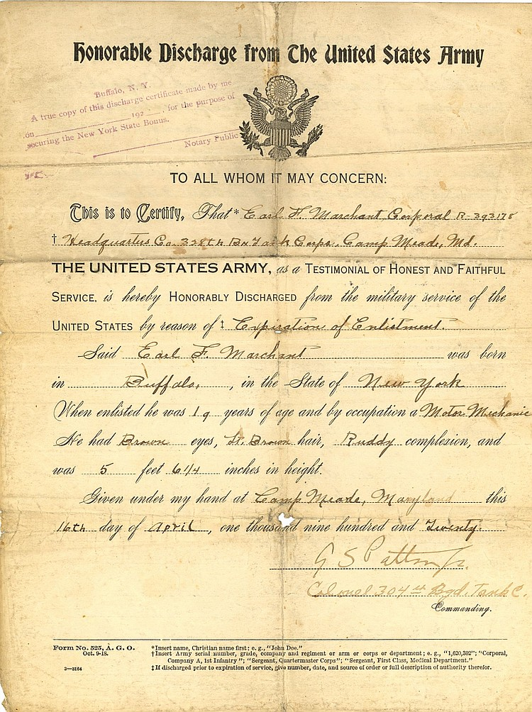 George s. Patton Honorable Discharge