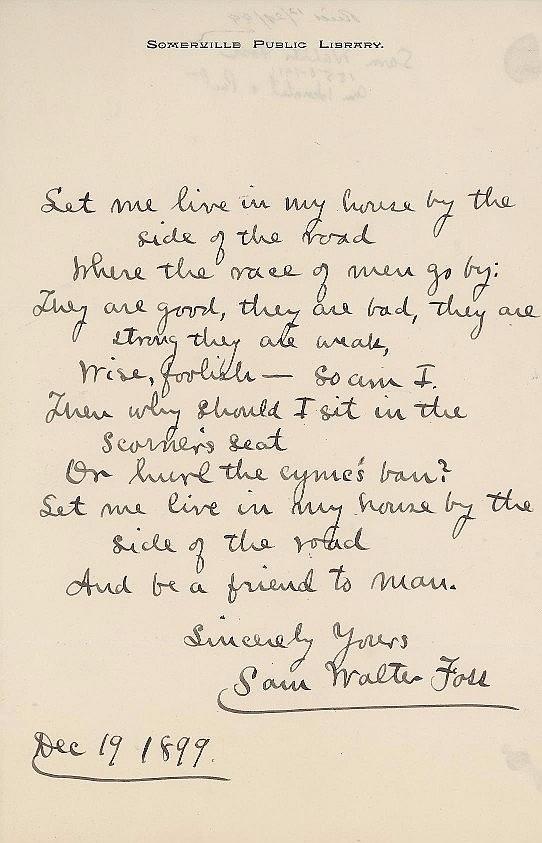 Rare AMQS by Poet Sam Walter Foss