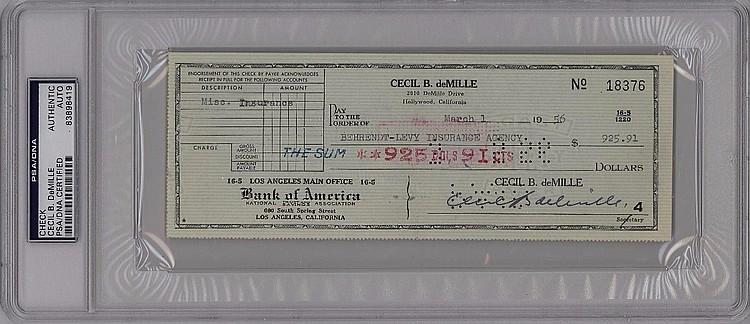 Cecil B. deMille Check