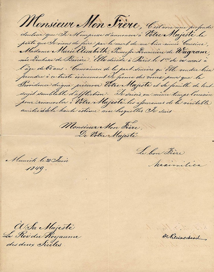 Maximilian II King of Bavaria Letter to King Of the Two Sicilies