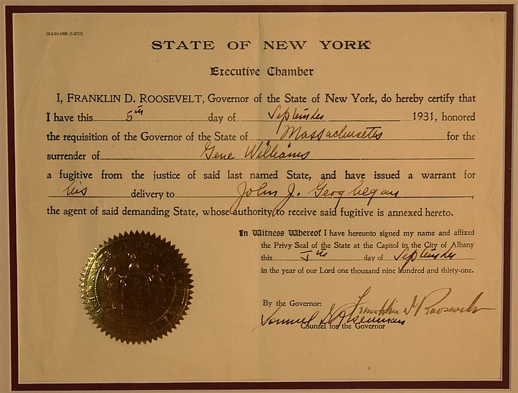 Franklin Delano Roosevelt, Executive Certification of Surrender of Fugitive