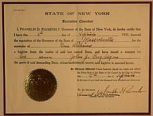 Franklin Delano Roosevelt, Executive Certification of Surrender of Fugitive