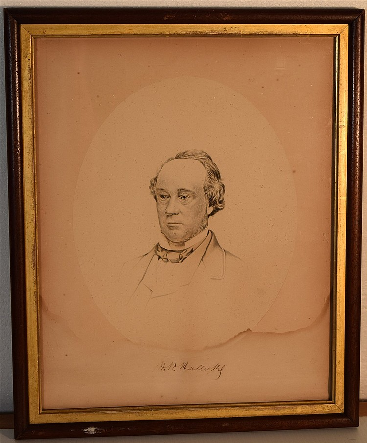 Henry Halleck Signed Water Color Portrait