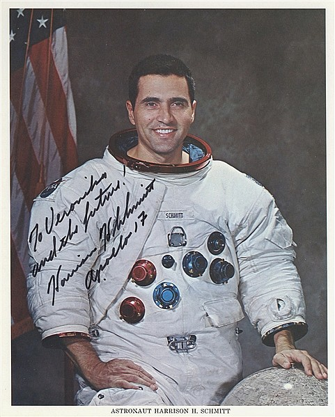 Harrison H. Schmitt Official Whirte Space Suit Photo
