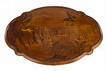 A French Art Nouveau Carved & Inlaid Wood Marquetry Table by, Emile Gallé