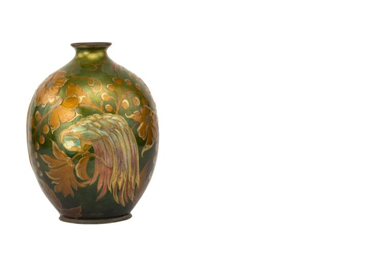 A French Art Nouveau Enameled Vase by, Camille Fauré