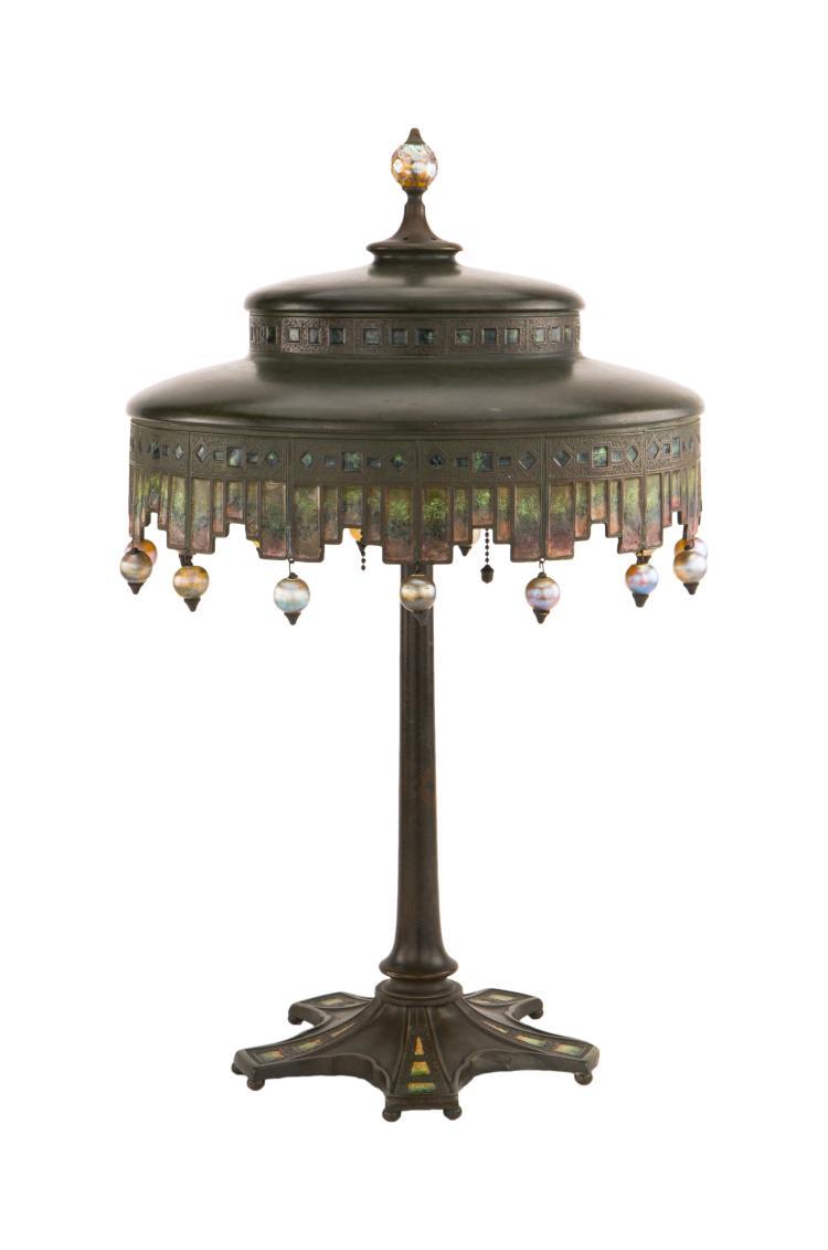 A Tiffany Studios Enameled Table Lamp
