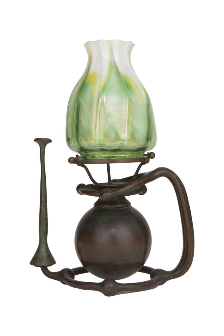 Tiffany Studios Glass  & Bronze Gimbal Candlestick