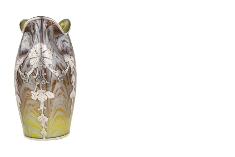 An Exceptional Art Nouveau Sterling Silver Overlay Vase By