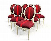 Conjunto de 6 cadeiras estilo Luís XVI em madeira