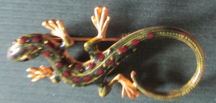 Enameled Salamander Brooch