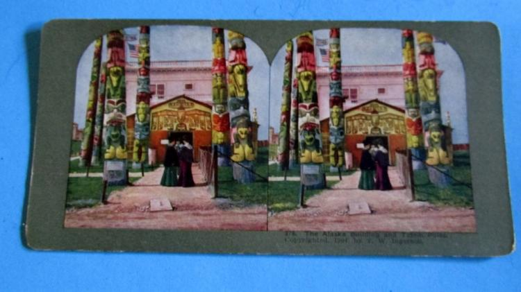 Stereo View of Alaska Building & Totem Poles