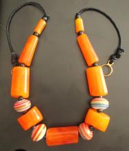 African Mali Copal Amber & Trade Bead Necklace