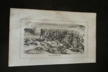Early American Engraving of Battle of Bunker Hill