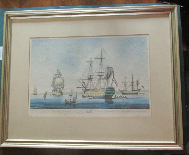 A Sixty Gun Ship at Spithead 1806 Aquatint