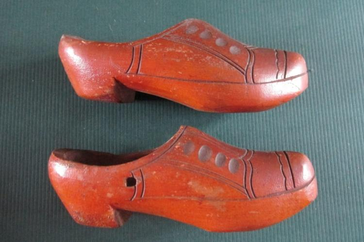 Pair of Wooden Miniature Shoes