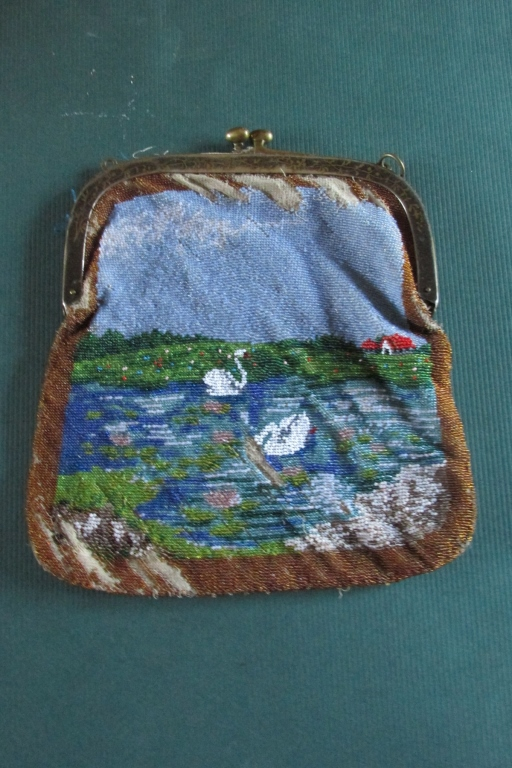 Beaded Purse with Swans on Lake