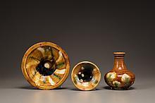 Three sancai-glazed pottery vessels