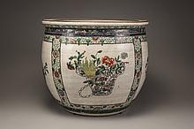 A Chinese famille verte porcelain fishbowl