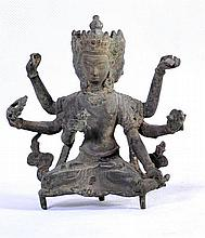 A NICE TIBETAN BRONZE OF SEATED 3 HEADED 6 ARMED AVALOKTESHVARA