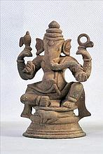 A NICE BRONZE 4 ARMED SCULPTURE OF HINDU GOD GANESHA
