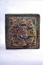 VERY NICE TIBETO CHINESE GILT COPPER PLAQUE OF BUDDHAS