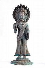 A NICE CHINESE BRONZE STATUE OF BUDDHA WITH SILVER INLAY