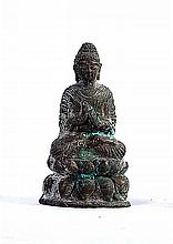 A VERY NICE TIBETAN BRONZE SEATED BUDDHA SHAKYAMUNI ON LOTUS FLOWER, SILVERED EYE
