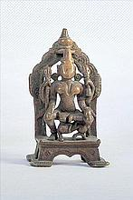 NICE OLD BRONZE STATUE OF HINDU GODDESS SEATED ON LION