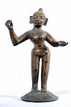 A RARE AND LARGE  OLD BRONZE STATUE OF RADHA