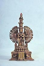 A NICE SINO TIBETAN GILT BRONZE STATUE OF THOUSAND ARMED AVALOKITESHVARA (KWUN YUM)