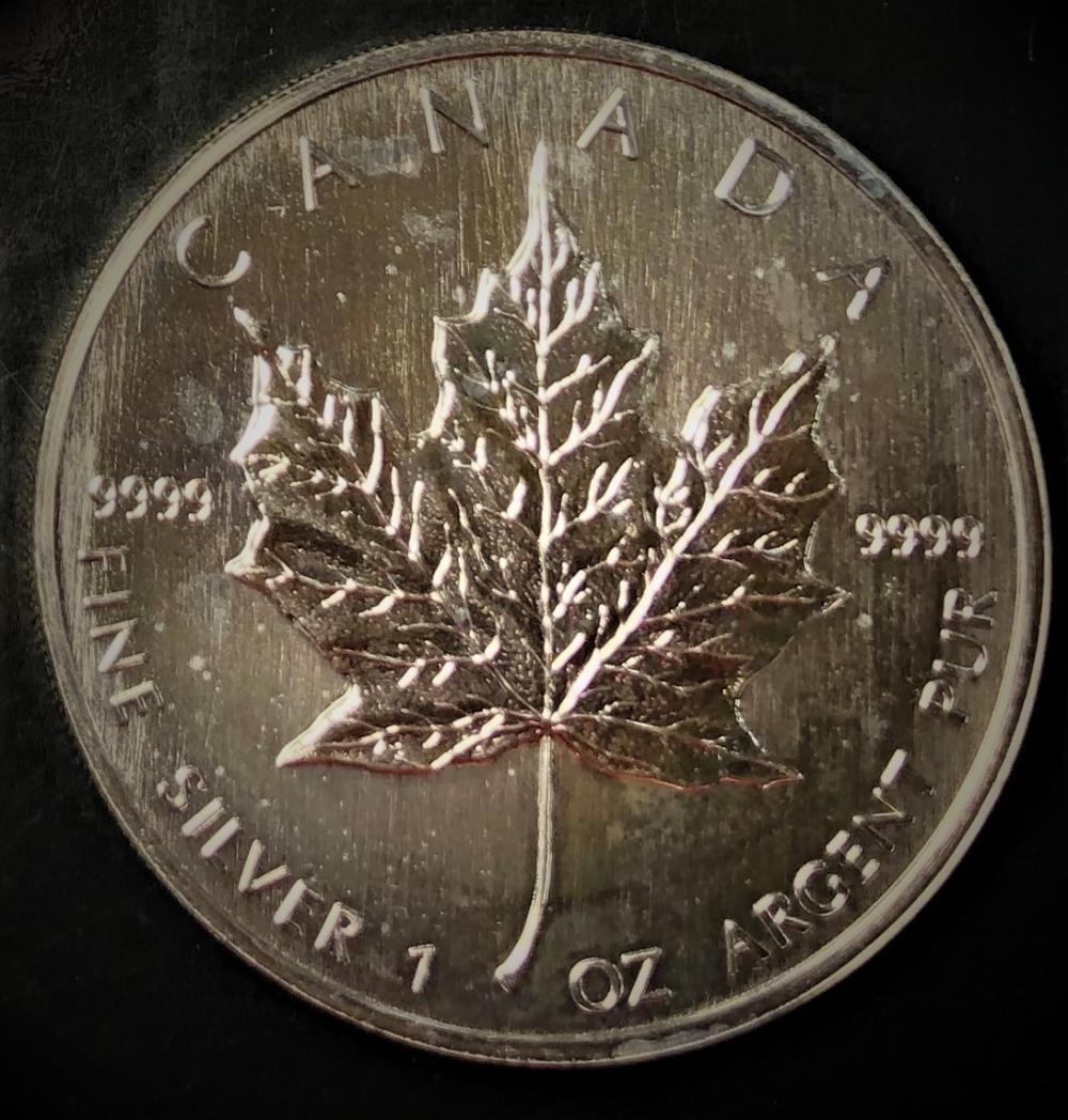 .999 1 Troy Ounce Silver Round-Canada Maple Leaf Proof