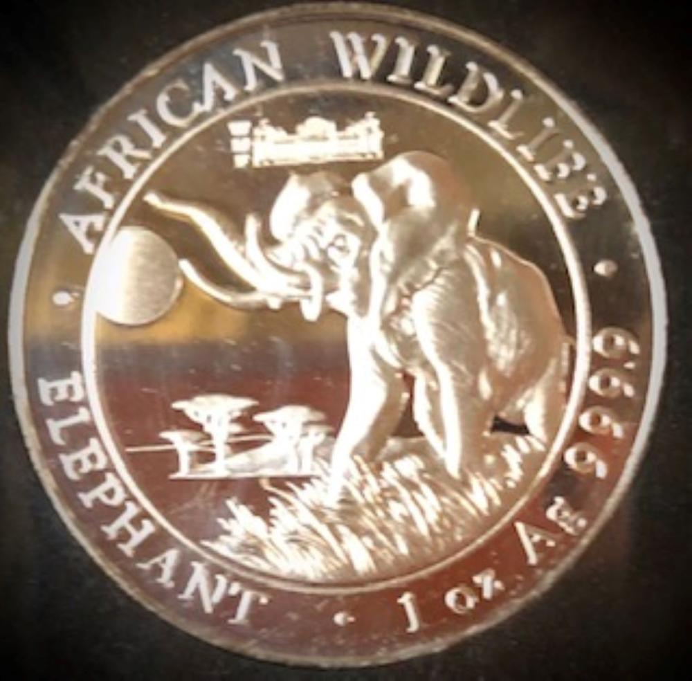 .9999 Pure Silver 2016 Somalia Elephant 1 Oz Silver Coin - African Wildlife Special Edition
