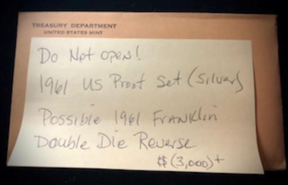 Unopened 1961 US Proof Set - Possible Chance To Find The Rare Double Die Reverse 1961 Silver Franklin Half