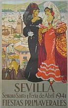 "FOLKLORIC SPANISH FESTIVITY POSTER ""SEVILLA FIESTAS PRIMAVERALES"" (1941) 24.8 X 39.4 (inch) 100 x 63 (cm),"