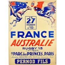 Poster RUGBY 13. FRANCE - AUSTRALIE. 1952 / ORDNER, Paul