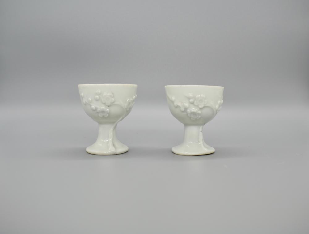 Blanc de chine pair of stem cups