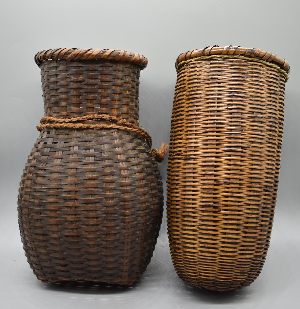 Sold Price Two Bamboo Woven Basket Flower Vase April 4 0120 11 00 Am Bst