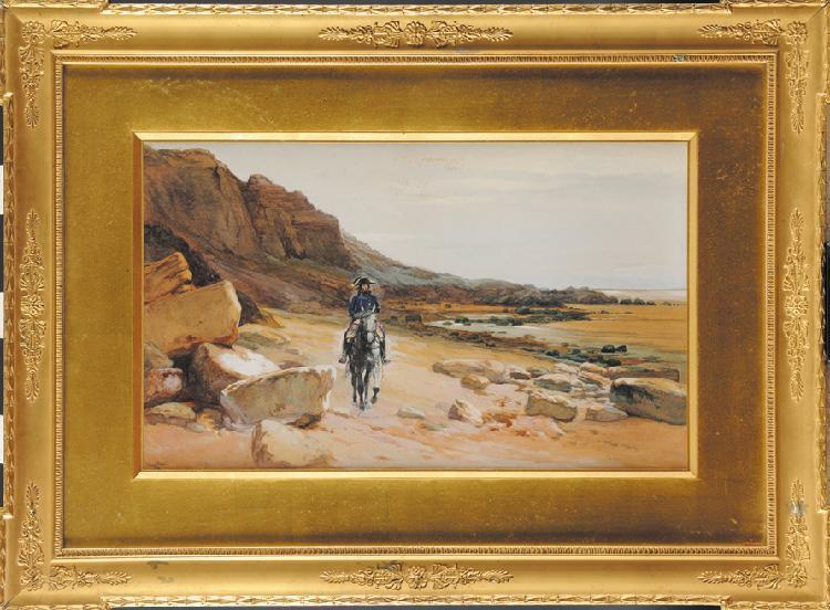 EDOUARD JEAN-BAPTISTE DETAILLE  (1848-1912) «Bonaparte en Egypte sur les bords d'un ruisseau » Gouache signée et datée en bas à gauche 1898 Sous-verre, cadre doré à palmettes. Ancienne étiquette d'inventaire ou de collection au dos 28 x 45 cm